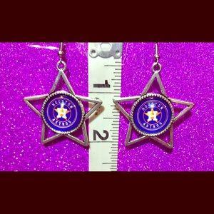 Houston Astros Silver Star Concho Earrings